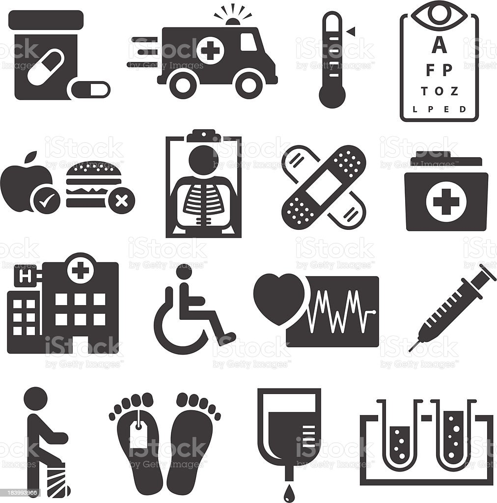 Healthcare And Medical Icons vector art illustration