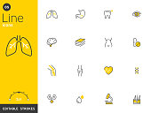Healthcare and medical line icons collection, editable strokes. For mobile concepts and web apps. Vector illustration, clean flat design.