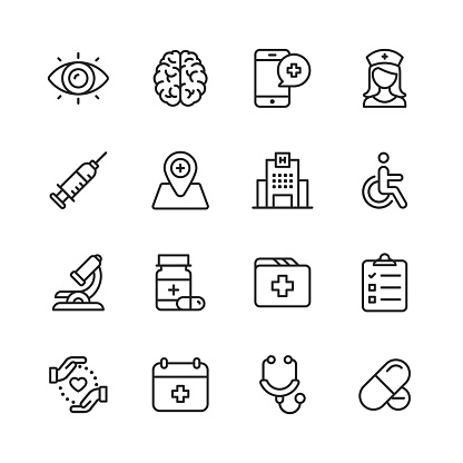Healthcare and Medical Line Icons. Editable Stroke. Pixel Perfect. For Mobile and Web. Contains such icons as Brain, Nurse, Hospital, Wheelchair, Medicine.
