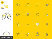 Healthcare and medical line yellow icon collection, editable strokes. For mobile concepts and web apps. Vector illustration, clean flat design.