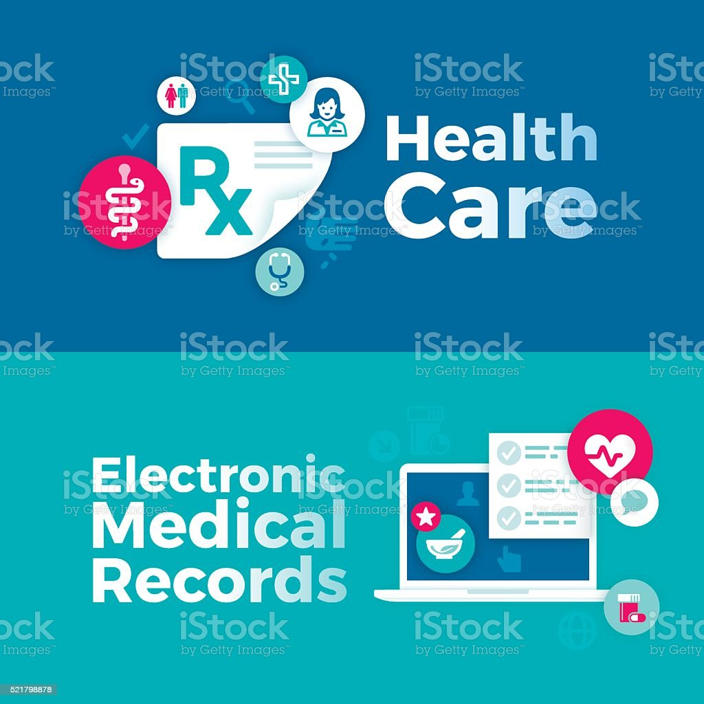 Healthcare and Medical Records Banners vector art illustration
