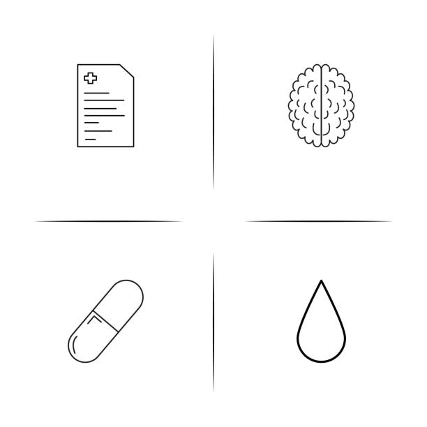 Healthcare And Medical simple linear icons set. Outlined vector icons vector art illustration
