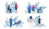 Healthcare and Medical Support for People Having Different Opportunities Cartoon Set. Hiring Disabled Woman, Home Sitting and Nursing for Pensioners, Womens Consultation. Vector Flat Illustration