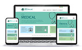 istock Healthcare and Medical User Interface Design for Web Site and Mobile App. Laptop, Tablet PC and Mobile Phone Vector Illustration. 1251725240