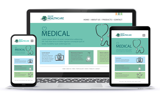 Healthcare and Medical User Interface Design for Web Site and Mobile App. Laptop, Tablet PC and Mobile Phone Vector Illustration.