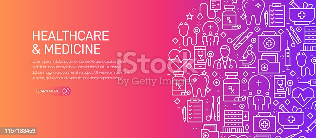 Healthcare and Medicine Banner Template with Line Icons. Modern vector illustration for Advertisement, Header, Website.