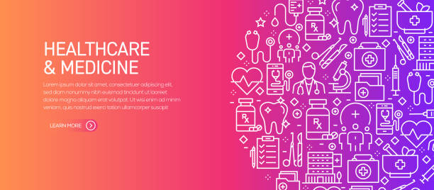 Healthcare and Medicine Banner Template with Line Icons. Modern vector illustration for Advertisement, Header, Website. Healthcare and Medicine Banner Template with Line Icons. Modern vector illustration for Advertisement, Header, Website. medical stock illustrations