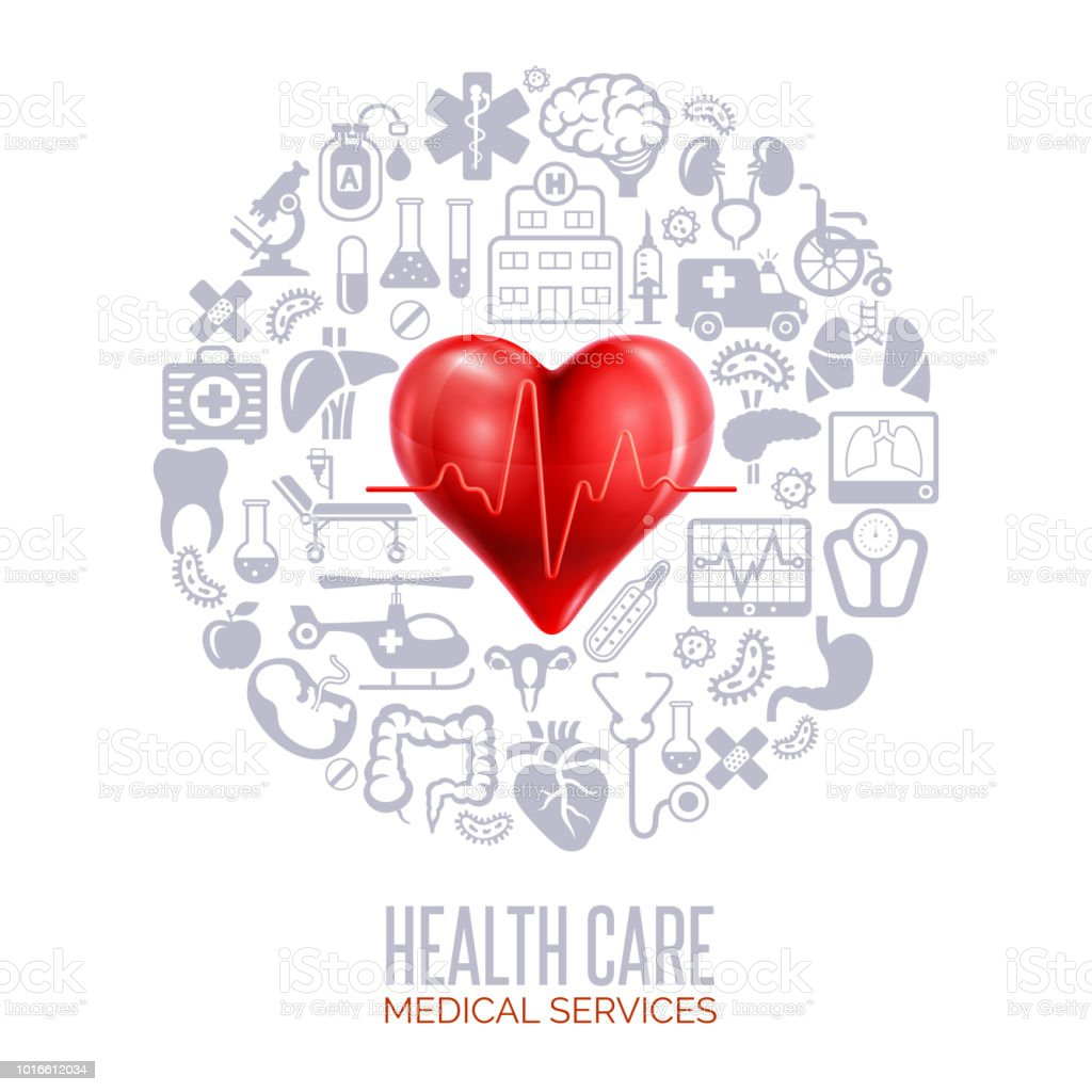 Healthcare And Medicine Concept Collage vector art illustration