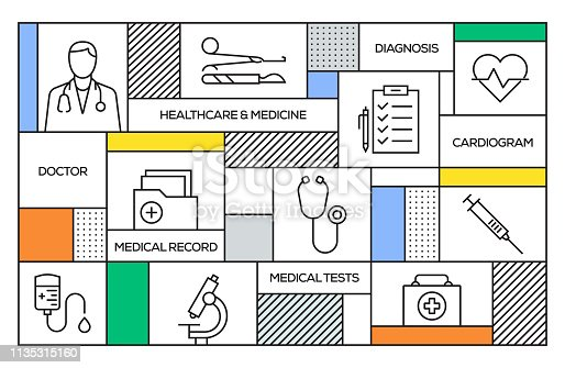 Healthcare and Medicine Concept. Geometric Retro Style Banner and Poster Concept with Healthcare and Medicine Line Icons