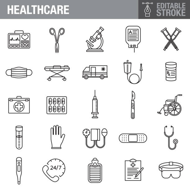 illustrazioni stock, clip art, cartoni animati e icone di tendenza di healthcare and medicine editable stroke icon set - mask surgery