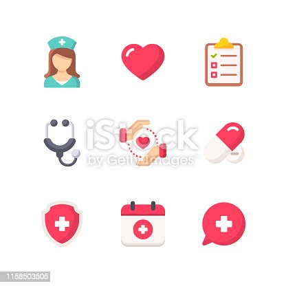 9 Healthcare and Medicine Flat Icons.