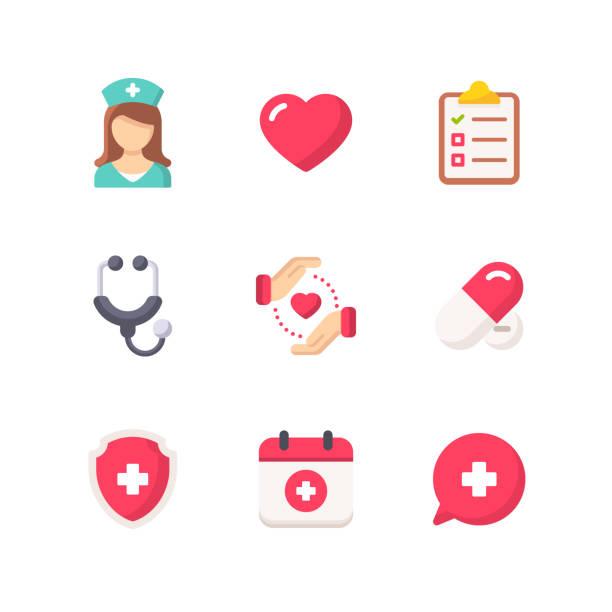 stockillustraties, clipart, cartoons en iconen met gezondheidszorg en geneeskunde platte iconen. pixel perfect. voor mobiel en web. bevat pictogrammen zoals gezondheidszorg, geneeskunde, arts, ziekenhuis, hart, verpleegkundige. - geestelijk welzijn