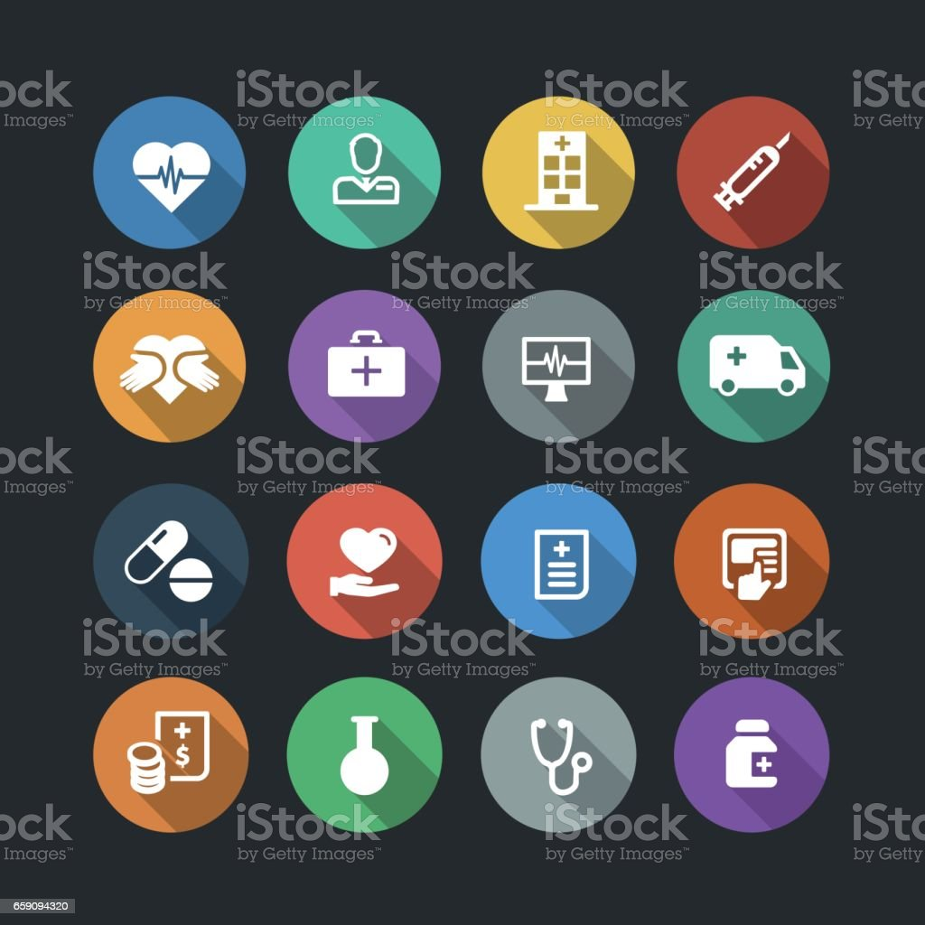 Healthcare and Medicine Flat Icons vector art illustration