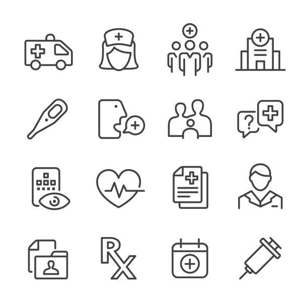 ikone des gesundheitswesens und der medizin - line series - pflegekraft stock-grafiken, -clipart, -cartoons und -symbole