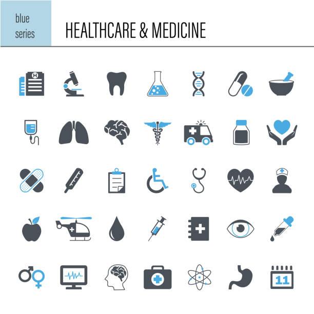 Healthcare and Medicine Icon Set Vector healthcare and medicine icon set conceptual symbol stock illustrations