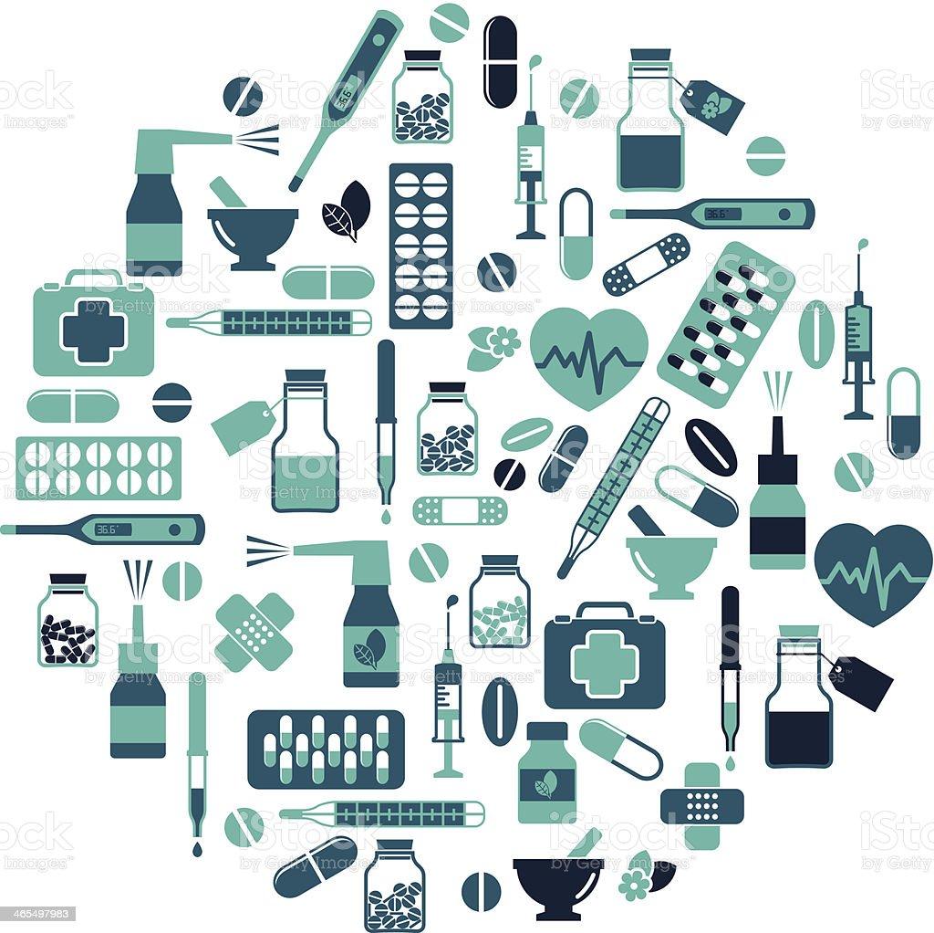 Healthcare and Medicine icon set vector art illustration