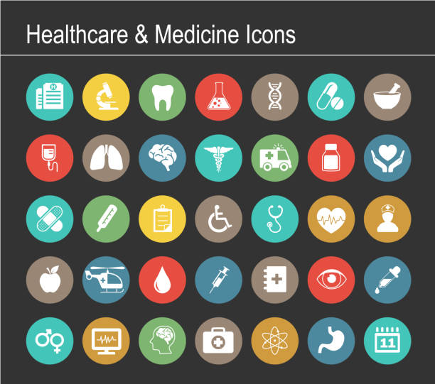 healthcare and medicine icon set - medicine stock illustrations, clip art, cartoons, & icons