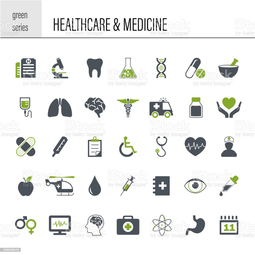 Healthcare and Medicine Icon Set vector art illustration