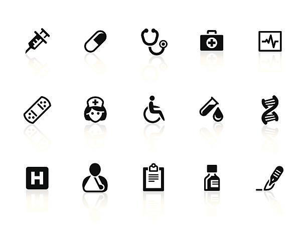bildbanksillustrationer, clip art samt tecknat material och ikoner med healthcare and medicine icons 1 - medicinsk journal