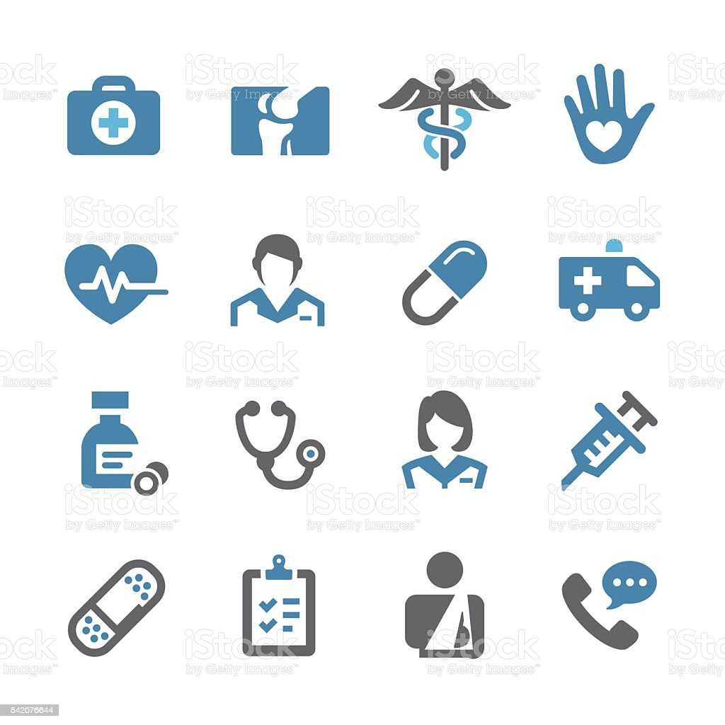 Healthcare and Medicine Icons Set - Conc Series vector art illustration
