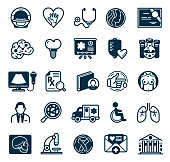 Vector Set of Healthcare and Surgery Icons with diagnostic, heart,science and ambulance symbols
