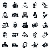 A set of medical healthcare and medicine icons. The icons include doctors, nurses, families, injuries, x-ray, online medical care, broken arm, immunizations, IV, checkups, medicine, pills, hospital, ambulance, rehabilitation and a hospital bed to name just a few.