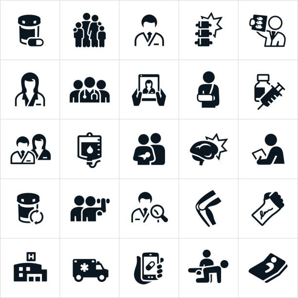 Healthcare and Medicine Icons A set of medical healthcare and medicine icons. The icons include doctors, nurses, families, injuries, x-ray, online medical care, broken arm, immunizations, IV, checkups, medicine, pills, hospital, ambulance, rehabilitation and a hospital bed to name just a few. doctor and patient stock illustrations