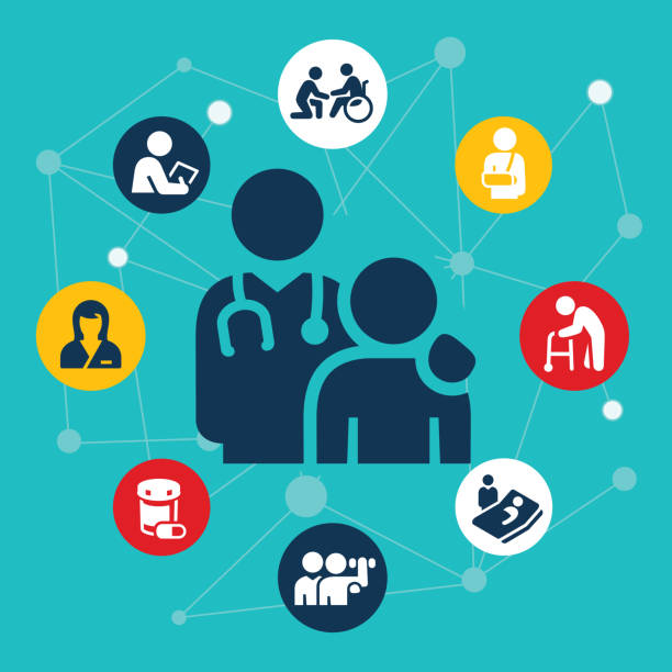 Healthcare And Medicine Illustration An illustration of a doctor and patient. They are surrounded by healthcare related icons. The icons include a nurse, doctor, checkup, patient in wheelchair, injury, man and walker, rehabilitation, pill bottle and doctor at patients bedside. doctor and patient stock illustrations
