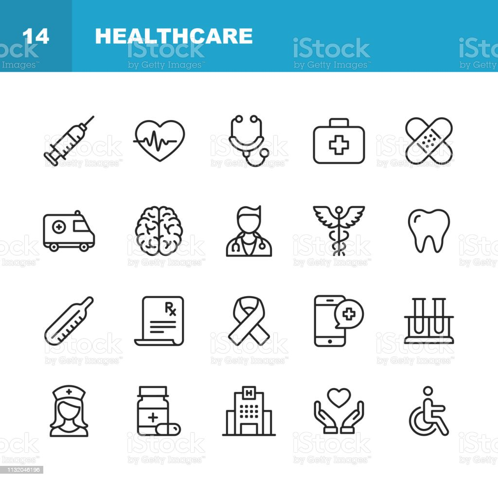 Healthcare and Medicine Line Icons. Editable Stroke. Pixel Perfect. For Mobile and Web. Contains such icons as Healthcare, Nurse, Hospital, Medicine, Ambulance. - arte vettoriale royalty-free di Accesso per disabili