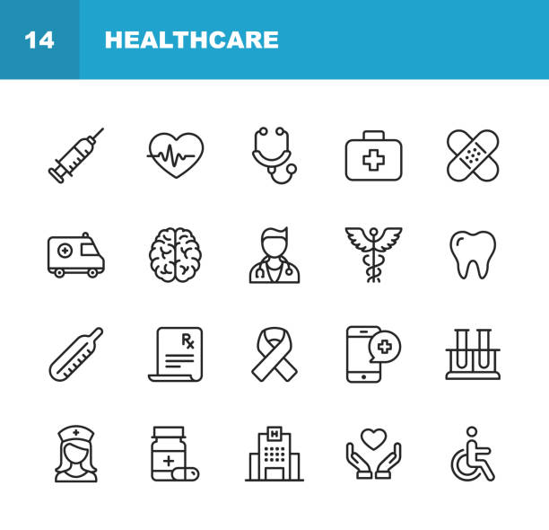 illustrazioni stock, clip art, cartoni animati e icone di tendenza di healthcare and medicine line icons. editable stroke. pixel perfect. for mobile and web. contains such icons as healthcare, nurse, hospital, medicine, ambulance. - farmaco