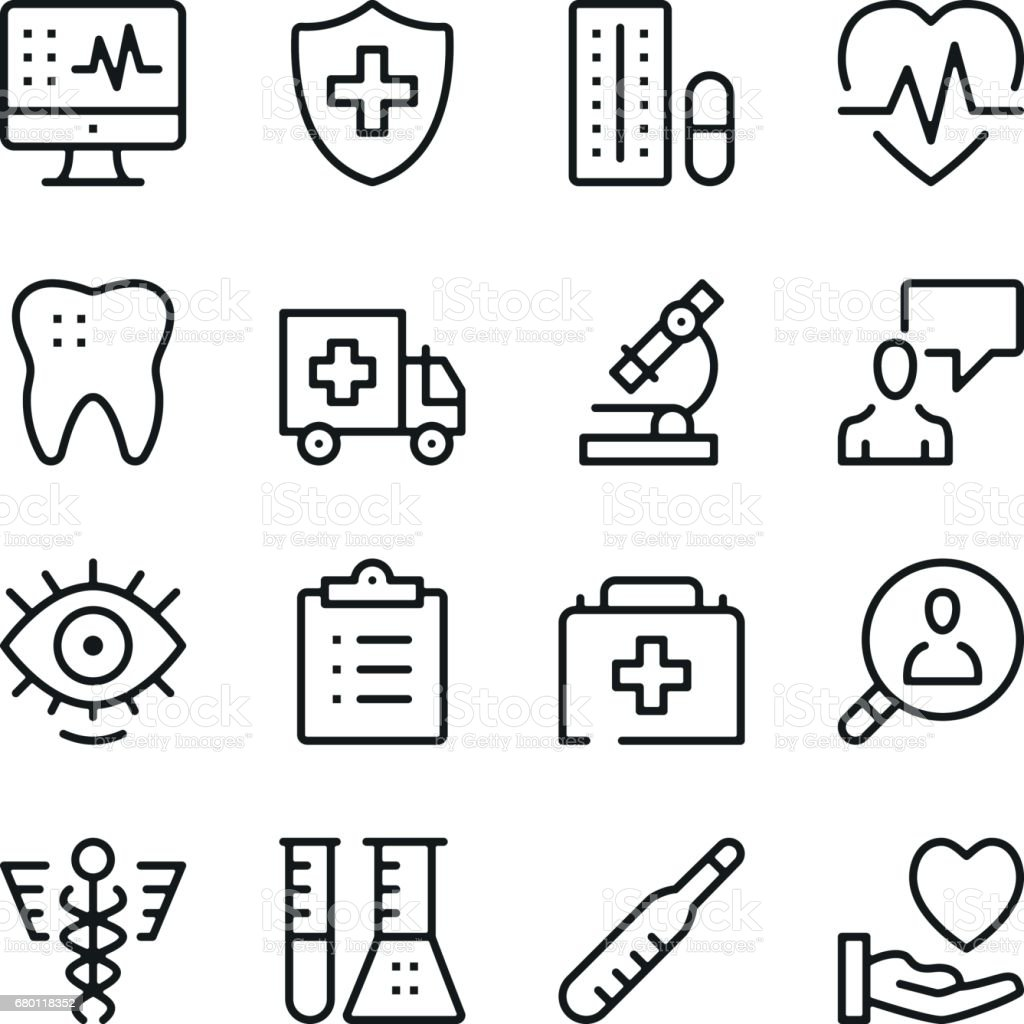 Healthcare and medicine line icons set. Modern graphic design concepts, simple outline elements collection. Vector line icons – artystyczna grafika wektorowa