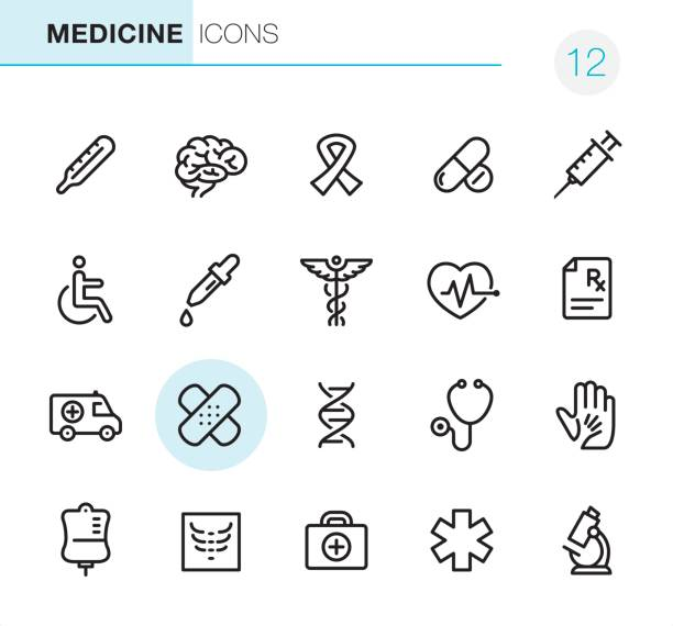 healthcare and medicine - pixel perfect icons - health icons stock illustrations