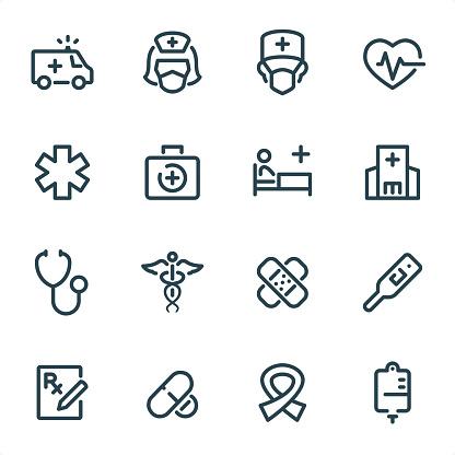 Healthcare And Medicine - Pixel Perfect Unicolor line icons
