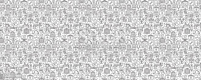 istock Healthcare and Medicine Related Seamless Pattern and Background with Line Icons 1203007985