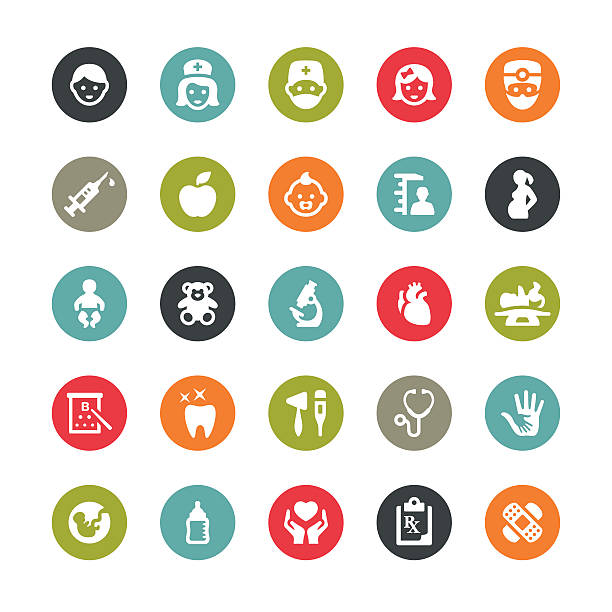 healthcare and medicine related vector icons / ringico series - pediatrician stock illustrations