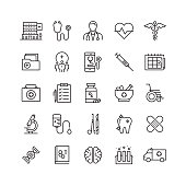 Healthcare and Medicine Related Vector Line Icons