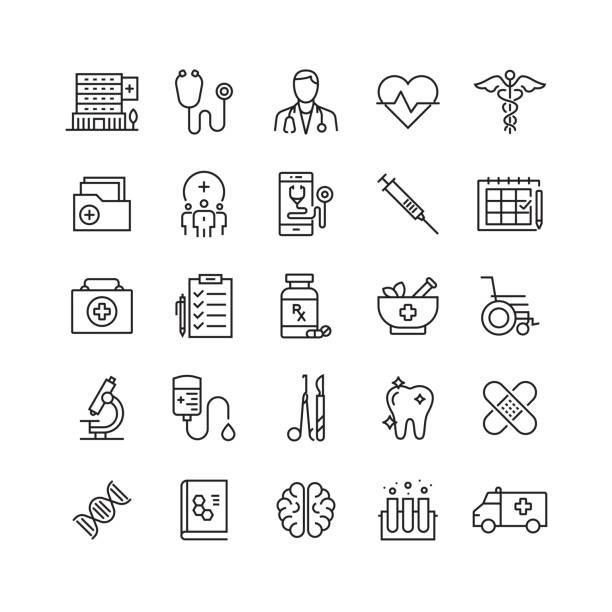 ilustraciones, imágenes clip art, dibujos animados e iconos de stock de iconos de línea vectorial relacionados con la salud y la medicina - exámenes médicos