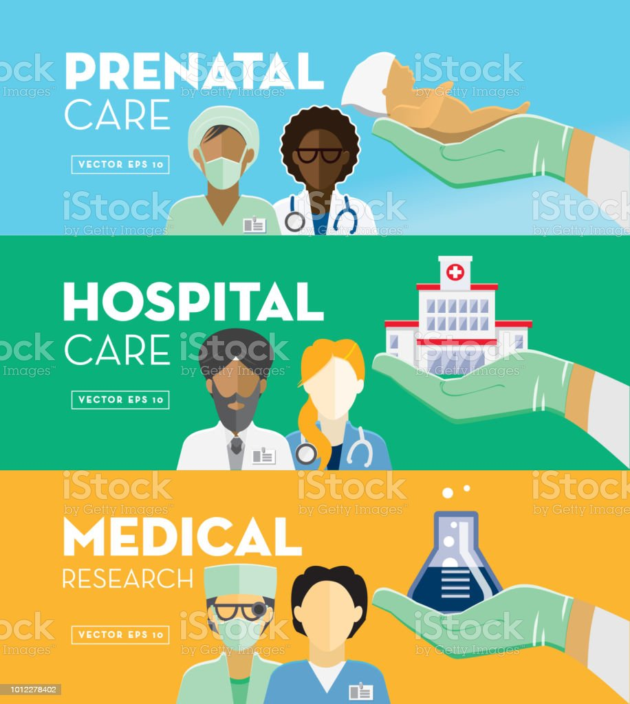 Healthcare and Medicine services Flat Design banner themed Icon Set with shadow vector art illustration