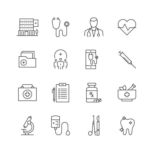 bildbanksillustrationer, clip art samt tecknat material och ikoner med sjukvård och medicin-uppsättning av tunna linje vektor ikoner - kardiolog