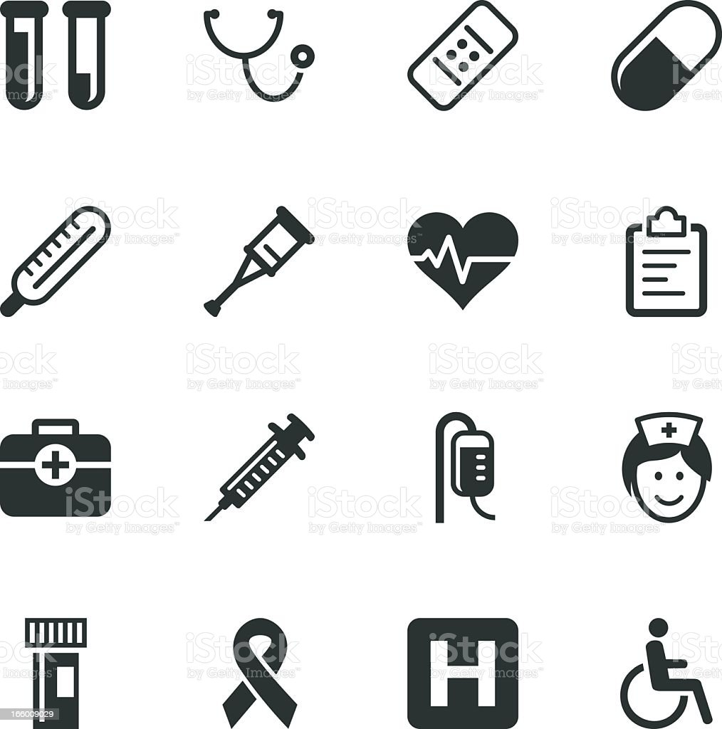 Healthcare and Medicine Silhouette Icons vector art illustration