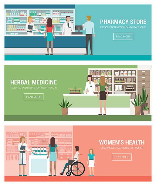 illustrazioni stock, clip art, cartoni animati e icone di tendenza di sanità e medicina - farmacia
