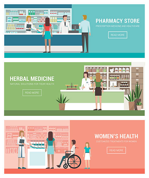 Healthcare and medicine Healthcare, pharmacy and medicine banner set with doctors and patients: pharmacy and herbalist's shop pharmaceutical industry stock illustrations