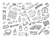 Healthcare and Medicine Vector Set. Hand Drawn Doodle Health items. Drugs and Medical Products and Devices.
