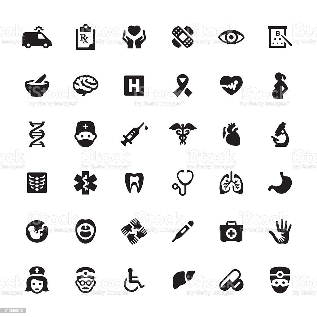 Healthcare And Medicine vector symbols and icons vector art illustration
