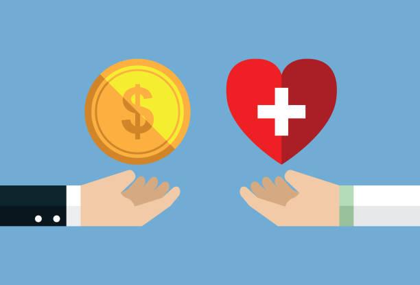 illustrazioni stock, clip art, cartoni animati e icone di tendenza di healthcare and money - prendersi cura del corpo