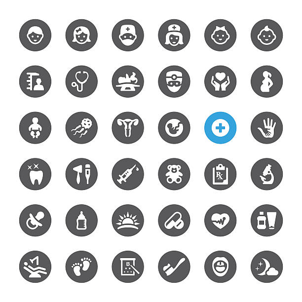 Healthcare and Pediatrician related vector icons vector art illustration