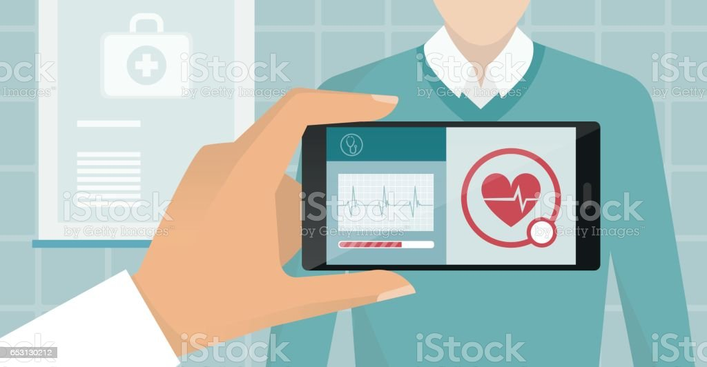 Healthcare and technology vector art illustration