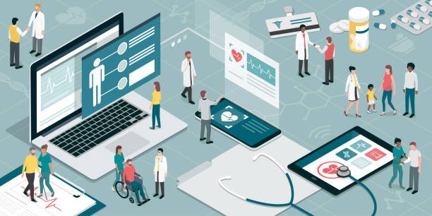 healthcare and technology - health stock illustrations