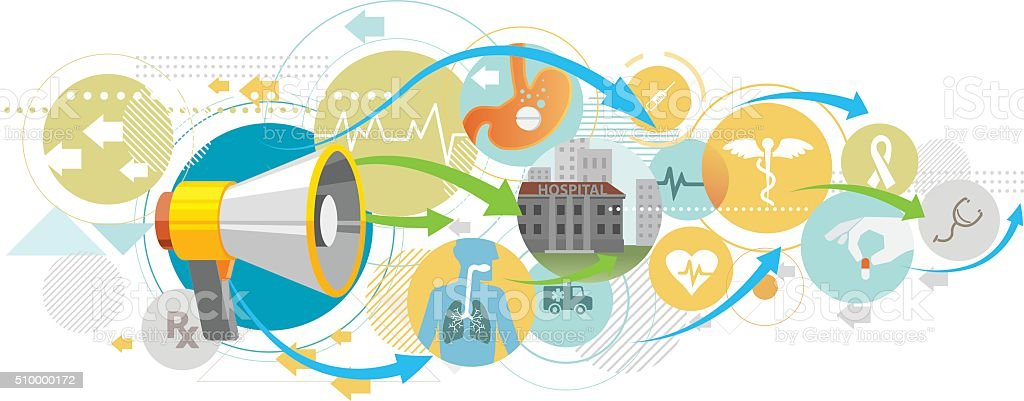 Healthcare announcement vector art illustration