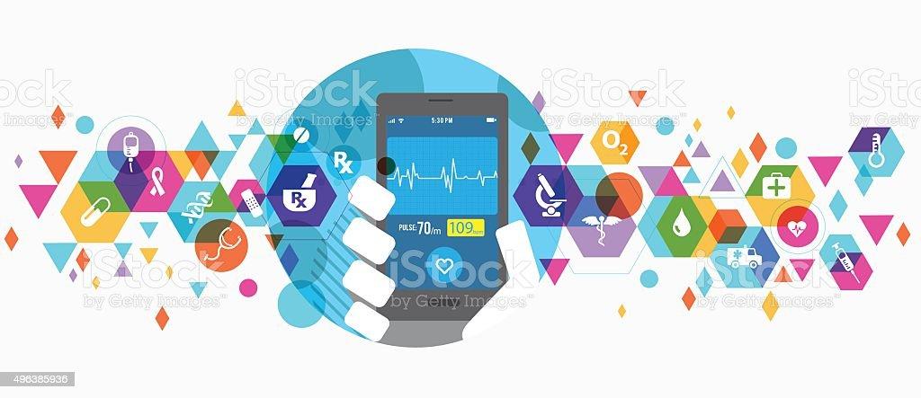 Healthcare apps on smartphone vector art illustration